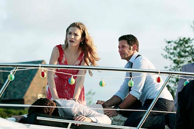 """Royal Pains - Season 6 - """"I Did Not See That Coming"""" - Willa Fitzgerald, Ryan McCartan and Mark Feuerstein"""