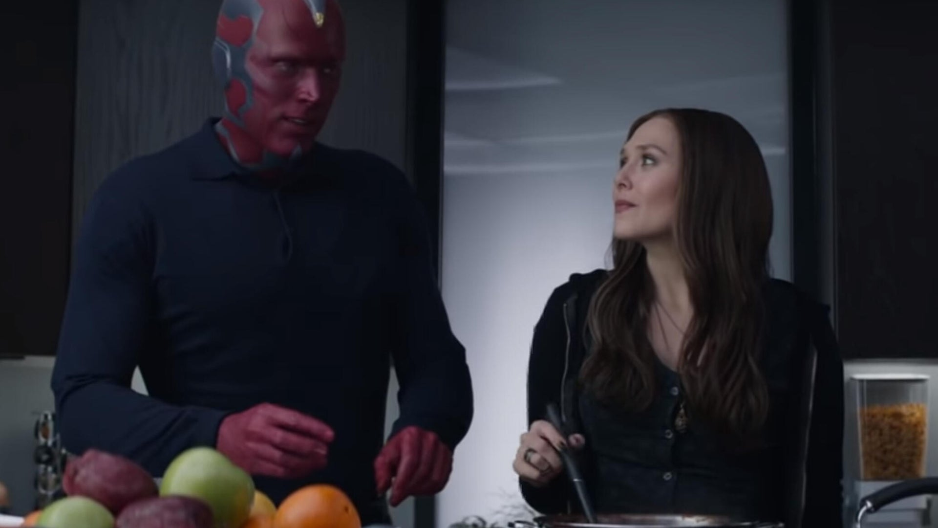 Paul Bettany and Elizabeth Olsen as Vision and Scarlet Witch