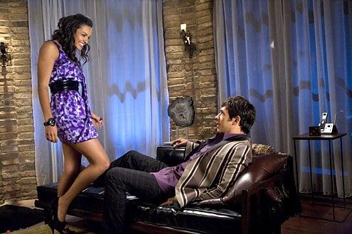 "Melrose Place - Season 1 - ""Oriole"" - Jessica Lucas as Riley Richmond and  Michael Rady as Jonah Miller"