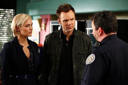 "Community - Season 1 - ""Basic Genealogy"" Episode 117 - Katharine McPhee as Amber, Joel McHale as Jeff"