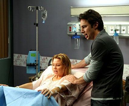 "Scrubs - Season 7, ""My Hard Labor"" - Elizabeth Banks as Dr. Kim Briggs, Zach Braff as ""J.D."""