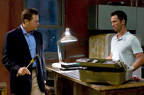 "Burn Notice - Season 2, ""Double Booked"" - Tim Matheson as Larry, Jeffrey Donovan as Michael"