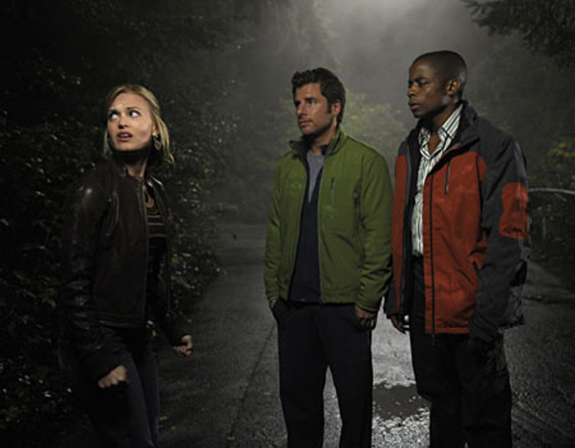 "Psych - Season 3, ""Six Feet Under the Sea"" - Maggie Lawson as Juliet O'Hara, James Roday as Shawn Spencer, Dule Hill as Gus Guster"