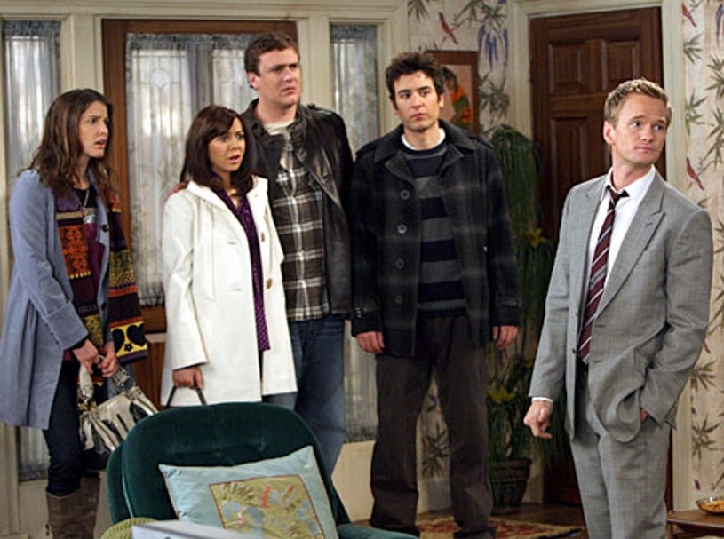 """How I Met Your Mother - Season 4, """"The Stinsons"""" - Cobie Smulders as Robin, Alyson Hannigan as Lily, Jason Segel as Marshall, Josh Radnor as Ted, Neil Patrick Harris as Barney"""