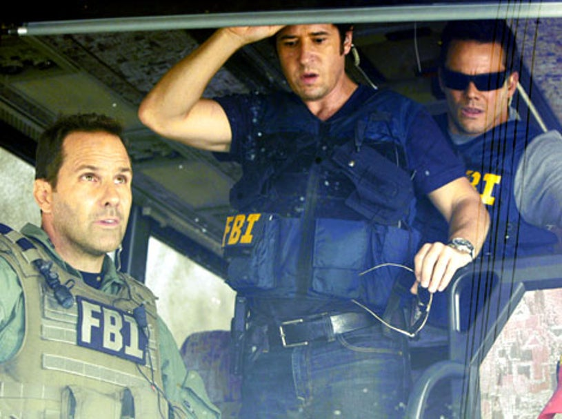 """Numb3rs - Season 5, """"Jacked"""" - Chris Bruno as Tim King, Rob Morrow as Don Eppes, Dylan Bruno as Colby Granger"""