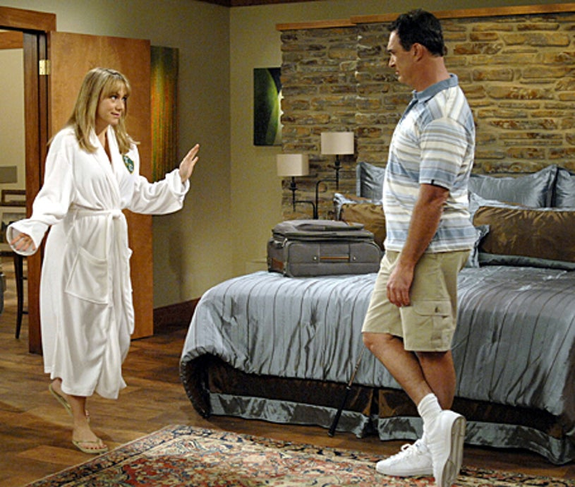 """Rules of Engagement - """"Time Share"""" -  Megyn Price as """"Audrey"""" and Patrick Warburton as """"Jeff"""""""