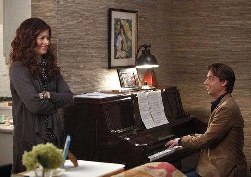 "Smash - Season 1 - ""Let's Be Bad"" - Debra Messing as Julia Houston and Christian Borle as Tom Levitt"