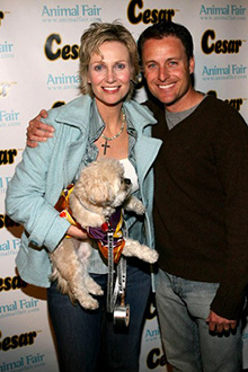 """Jane Lynch and Chris Harrison -  """"Paws for Style"""" Celebrity Pet Fashion show. April 2006"""