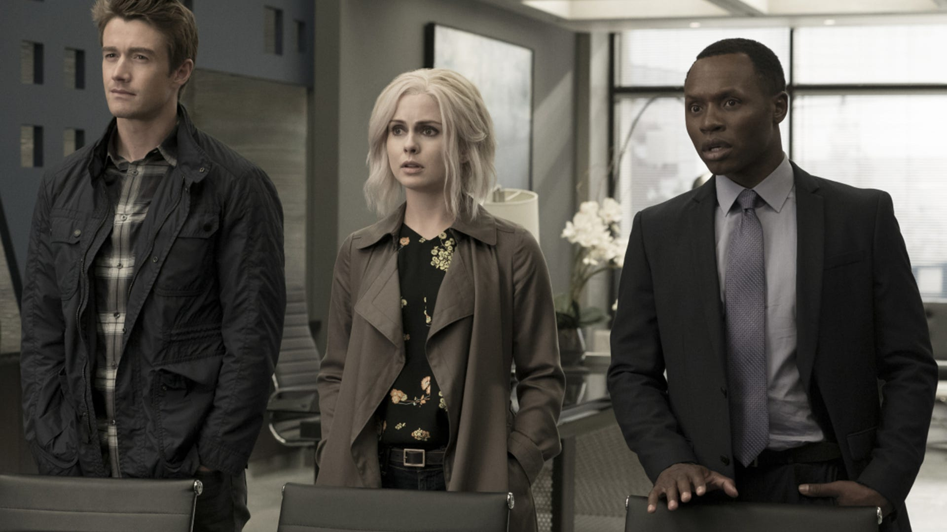 Robert Buckley, Rose McIver and Malcolm Goodwin, iZombie