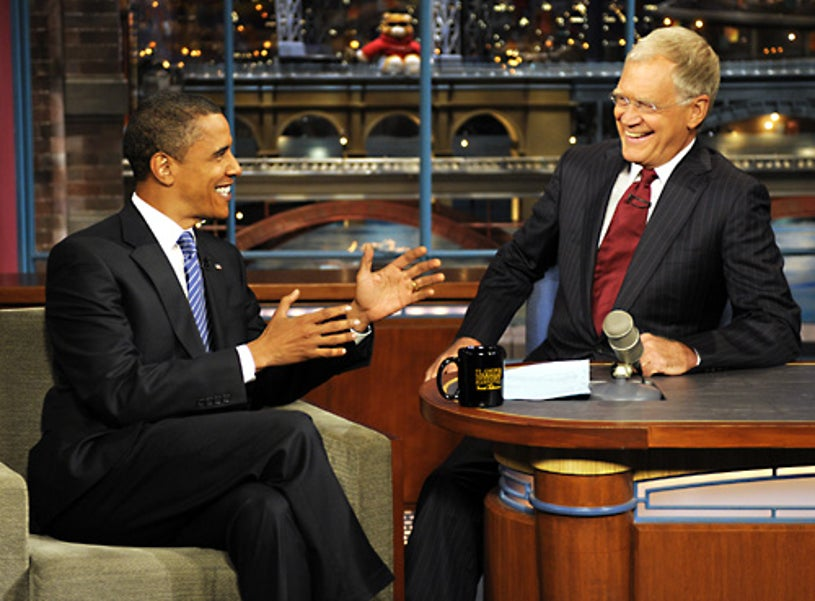 The Late Show with David Letterman - Democratic Presidential nominee Sen. Barack Obama stops by the Ed Sullivan Theater to talk to Dave when he makes his 5th visit to the Late Show with David Letterman - Sept. 10, 2008
