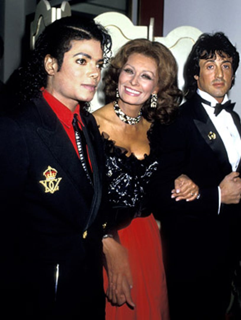 Michael Jackson, Sophia Loren and Sylvester Stallone - 4th Annual American Cinema Awards, Beverly Hills, January 9, 1987