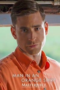 Man in an Orange Shirt on Masterpiece as Adam Berryman