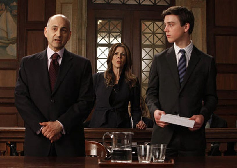 """Law & Order: Special Victims Unit - Season 12 - """"Delinquent"""" - Ned Eisenberg as Roger Kessler, Rita Wilson as Bree Mazelon and Sterling Beaumon as Hunter Mazelon"""