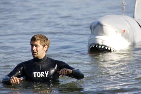 Shark Week 2008 - MythBusters cast member Tony Belleci and mechanical shark
