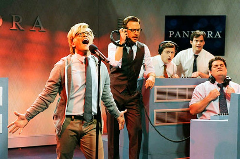 "Saturday Night Live - Season 38 - ""Bruno Mars"" - Bruno Mars, Jason Sudeikis, Tim Robinson, Bill Hader and Bobby Moynihan"