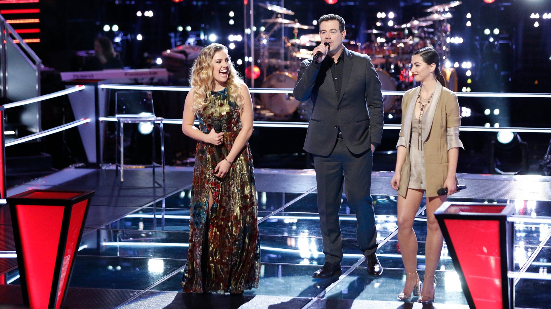 The Voice - Ashley Levin, Carson Daly, Lilly Passero