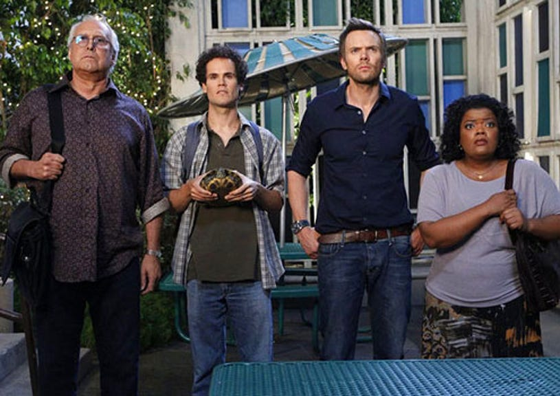 """Community - Season 3 - """"Competitive Ecology"""" - Chevy Chase as Pierce, David Neher as Todd, Joel McHale as Jeff and Yvette Nicole Brown as Shirley"""