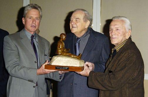 Michael Douglas, Karl Malden and Kirk Douglas - Monte Cristo Award, Nov. 2004