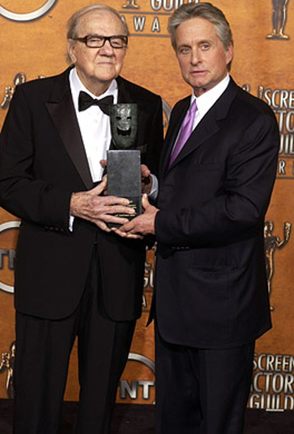 Karl Malden - winner of Screen Actord Guild Life Achievement Awards and presenter Michael Douglas, Los Angeles, February 22, 2004