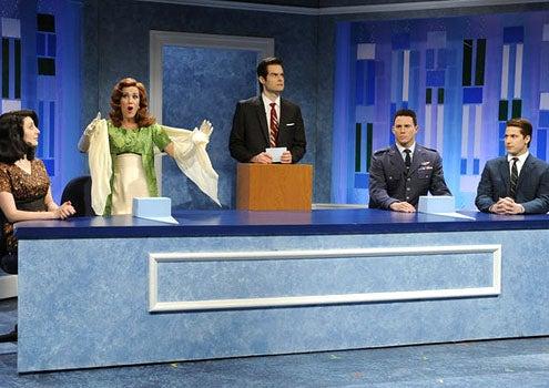 "Saturday Night Live - Season 37 - ""Channing Tatum"" - Nasim Pedrad, Kristen Wiig, Bill Hader, Channing Tatum and Andy Samberg"