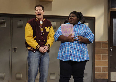 "Saturday Night Live - Season 35 - ""Gabourey Sidibe"" - Andy Samberg and Gabourey Sidibe"