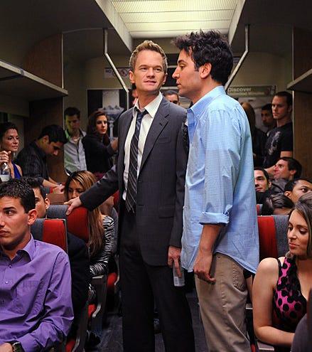 "How I Met Your Mother - Season 7 - ""The Drunk Train"" - Neil Patrick Harris, Josh Radnor"