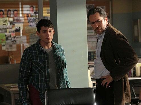 "The Bridge - Season 1 - ""The Beetle"" - Carlos Pratts as Gus Ruiz, Demian Bichir as Marco Ruiz"