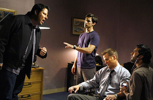 "Heroes - Season 3 - ""Cold Wars"" - Greg Grunberg as Matt Parkman, Milo Ventimiglia as Peter Petrelli, Jack Coleman as H.R.G. and Sendhil Ramamurthy as Mohinder Suresh"