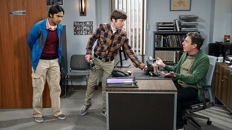 Kunal Nayyar, Simon Helberg and John Ross Bowie, The Big Bang Theory