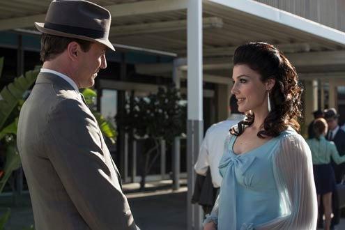 "Mad Men - Season 7 - ""Time Zones"" - Jon Hamm as Don Draper and Jessica Pare as Megan Draper"