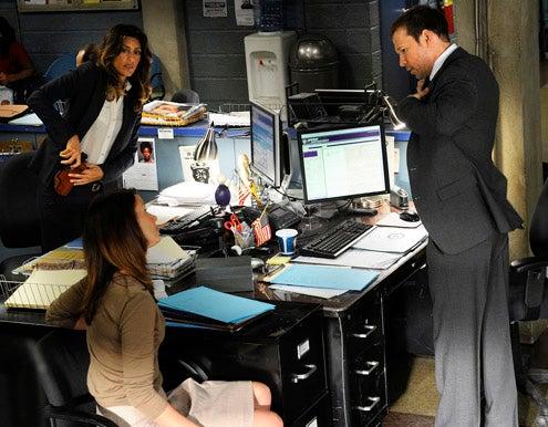 "Blue Bloods - Season 2 - ""Mercy"" -  Jennifer Esposito as Det. Jackie Curatola, Bridget Moynahan as Erin Reagan Boyle, and Donnie Wahlberg as Danny Reagan"