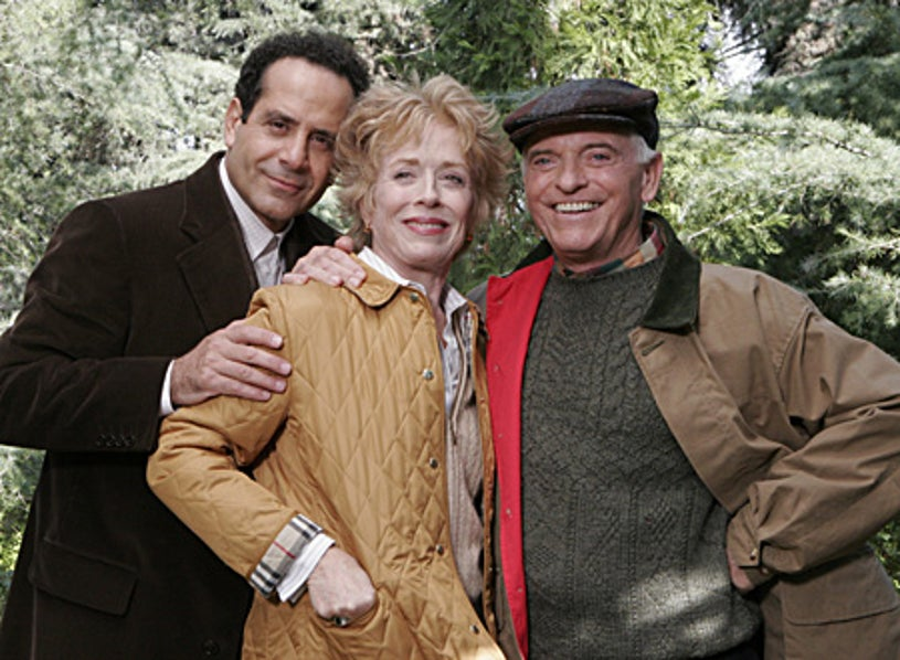 """Monk - """"Mr Monk is at Your Service"""" - Tony Shalhoub as Adrian Monk, Holland Taylor as Peggy Davenport, Michael Cavanaugh as Bobby Davenport"""