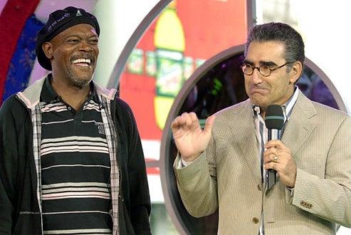 """Samuel L. Jackson and Eugene Levy - MTV's """"TRL"""" in New York City, September 7, 2005"""