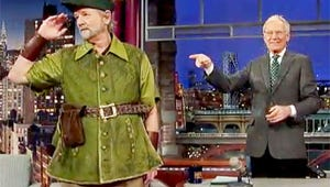VIDEO: Bill Murray Flies Into The Late Show Dressed as Peter Pan