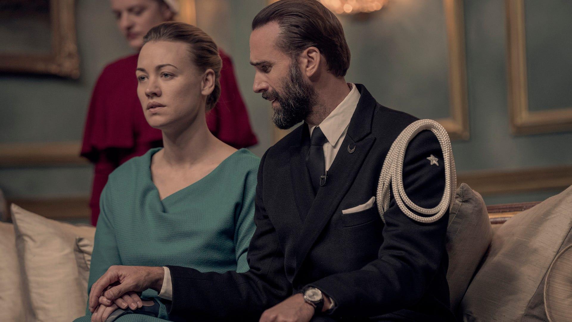Elisabeth Moss, Yvonne Strahovski, and Joseph Fiennes, The Handmaid's Tale