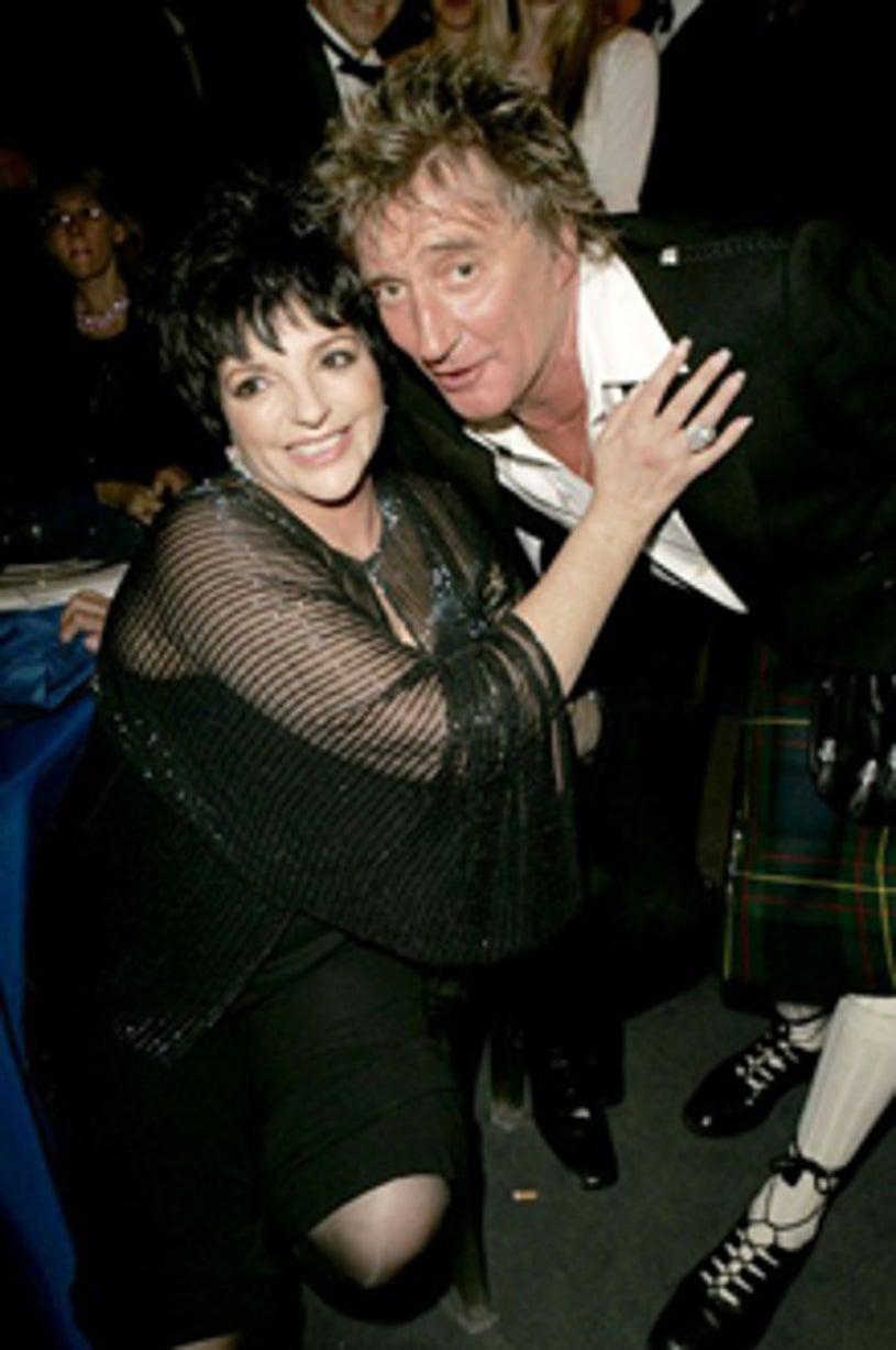 """Liza Minnelli and Rod Stewart -  """"Cinema Against AIDS Cannes"""" benefit, May 2004"""