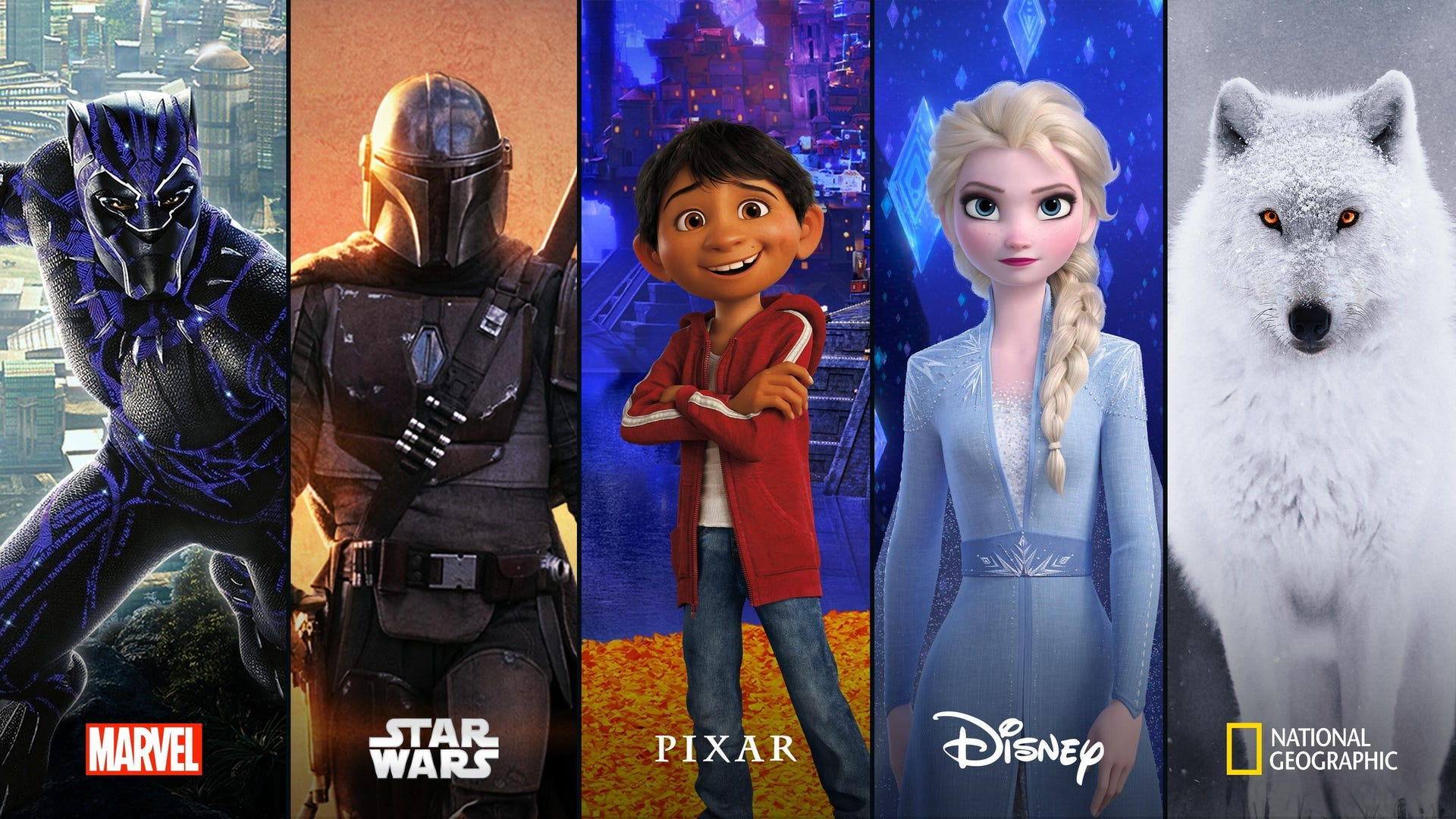 Disney Plus programming: Marvel, Star Wars, Pixar, Disney, National Geographic