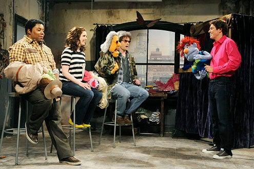 """Saturday Night Live - Season 38 - """"Seth MacFarlane""""- Keenan Thompson, Vanessa Bayer, Bill Hader and Seth MacFarlane"""