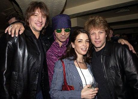 """Richie Sambora, Little Steven Van Zandt, Annabella Sciorra, and Jon Bon Jovi - """"Little Steven's Underground Garage"""" radio show in New York City, April 7, 2002"""