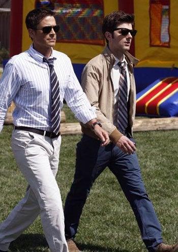 "Parks and Recreation - Season 2 - ""Freddy Spaghetti"" - Rob Lowe as Chris Traeger and Adam Scott as Ben Wyatt"