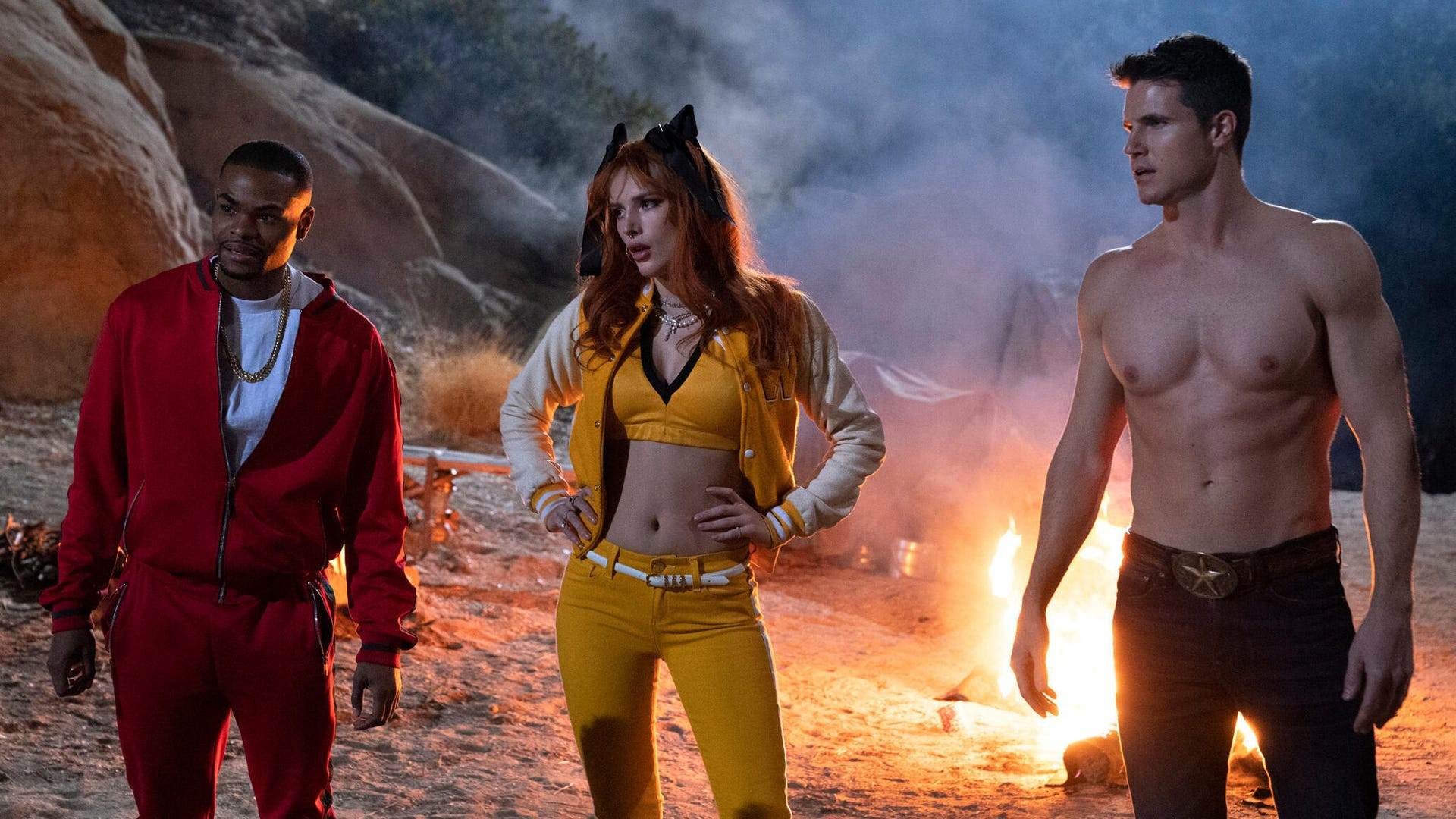 Andrew Bachelor, Bella Thorne, and Robbie Amell, The Babysitter: Killer Queen