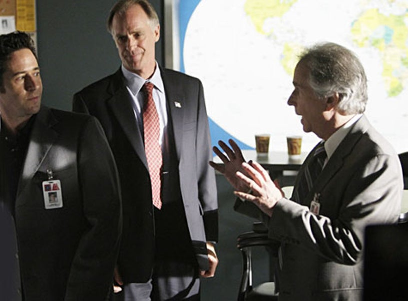 """Numb3rs - Season 5, """"Jack of All Trades"""" - Rob Morrow as Don, Keith Carradine as Carl McGowan, guest star Henry Winkler as FBI Agent Bloom"""
