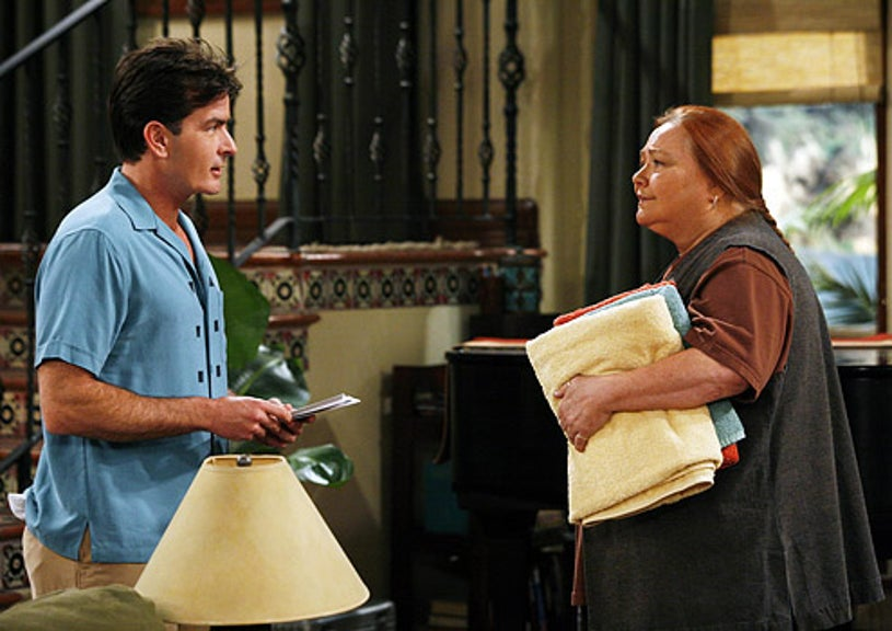 """Two And A Half Men - Season 5 - """"Is There a Mrs. Waffles?"""" - Charlie Sheen as Charlie and Conchata Ferrell as Berta"""