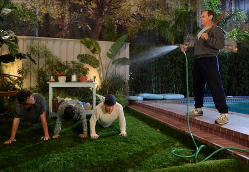 """Surviving Jack - Season 1 - """"Gonna Make You Sweat"""" - Connor Buckley as Frankie, Kevin Hernandez as George, Tyler Foden as Mikey, Christopher Meloni as Jack"""