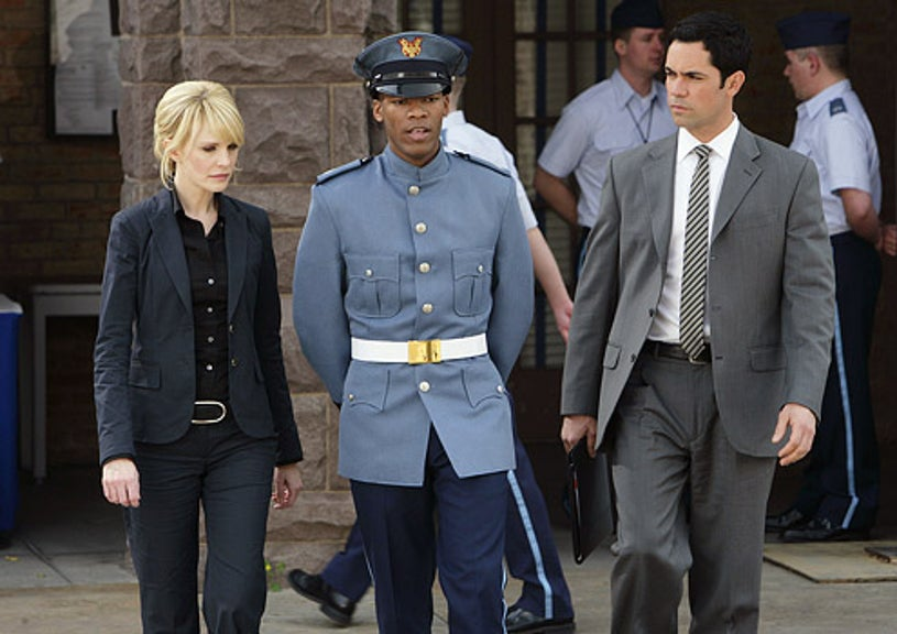 """Cold Case - Season 6 - """"The Long Blue Line"""" - Kathryn Morris as Lilly, guest star Dennis Hill and Danny Pino as Valens"""