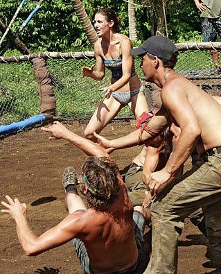 """Survivor: Heroes vs. Villains - Season 16 - Amanda Kimmell, James """"J.T"""" Thomas Jr., Benjamin """"Coach"""" Wade, Rob Mariano and Colby Donaldson"""