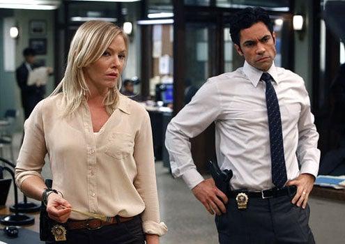 "Law & Order: SVU - Season 13 - ""Blood Brothers"" - Kelli Giddish as Det. Amanda Rollins and Danny Pino as Det. Nick Amaro"