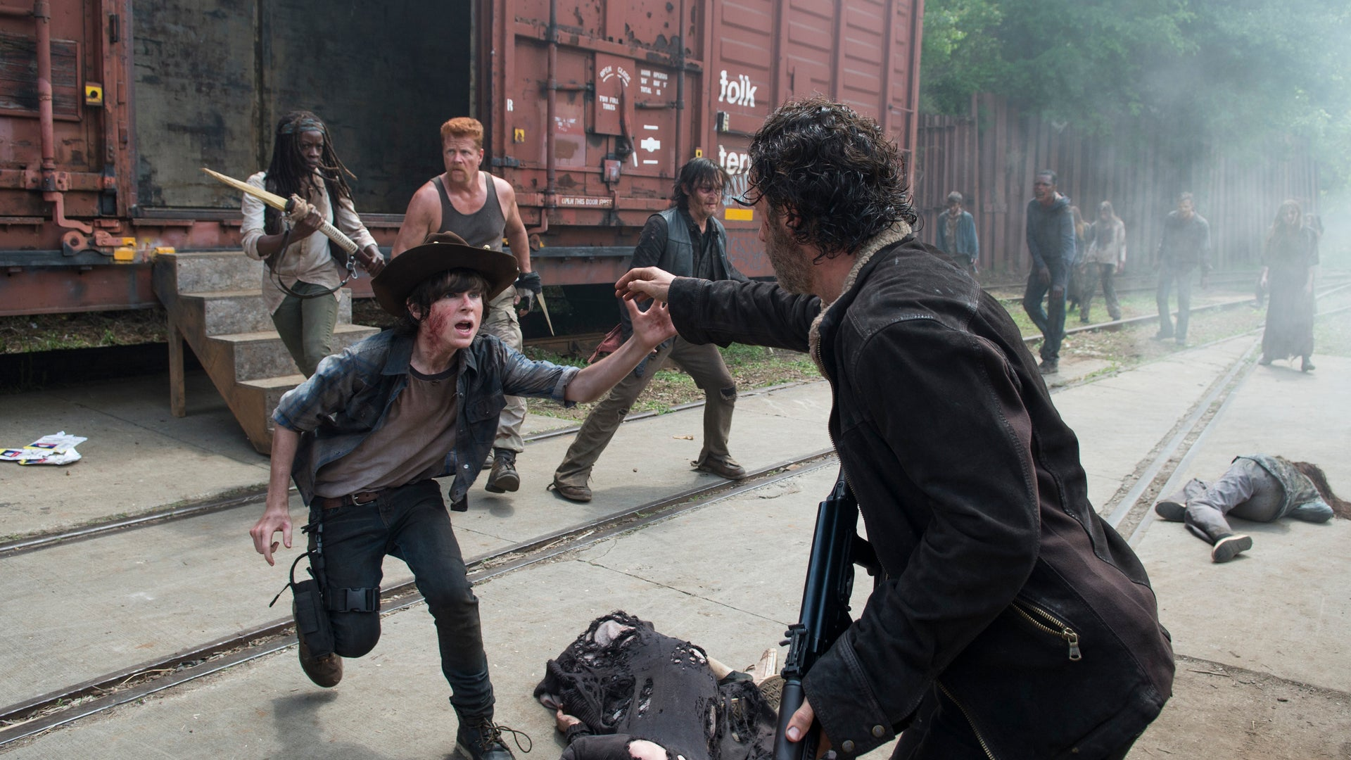 Danai Gurira as Michonne, Michael Cudlitz as Abraham, Norman Reedus as Daryl Dixon, Chandler Riggs as Carl Grimes and Andrew Lincoln as Rick Grimes, The Walking Dead