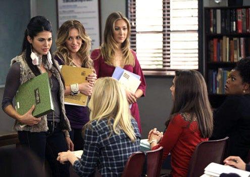 "Community - Season 2 - ""Aerodynamics of Gender"" - Jess Adams as Jen, Hilary Duff as Meghan, Molly McQueen Flattery as Tracy, Yvette Nicole Brown as Shirley, Alison Brie as Annie and Gillian Jacobs as Britta"