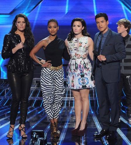 "The X Factor - Season 2 - ""Nov 29, 2012: Results"" - Khloe Kardashian Odom, Paige Thomas, Demi Lovato and Mario Lopez"
